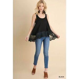 NWOT   Black Lace Hem Tunic   L